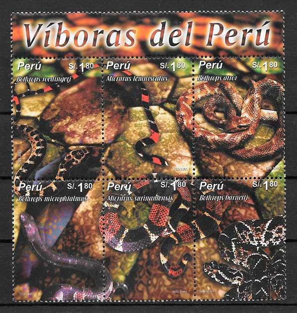 filatelia colección fauna Perú 2004