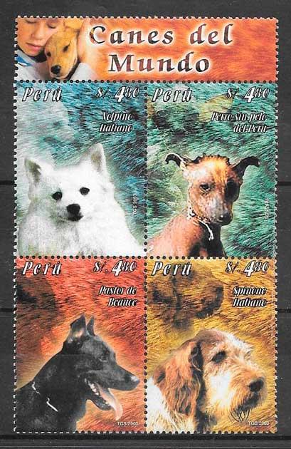 filatelia colección gatos y perros Perú