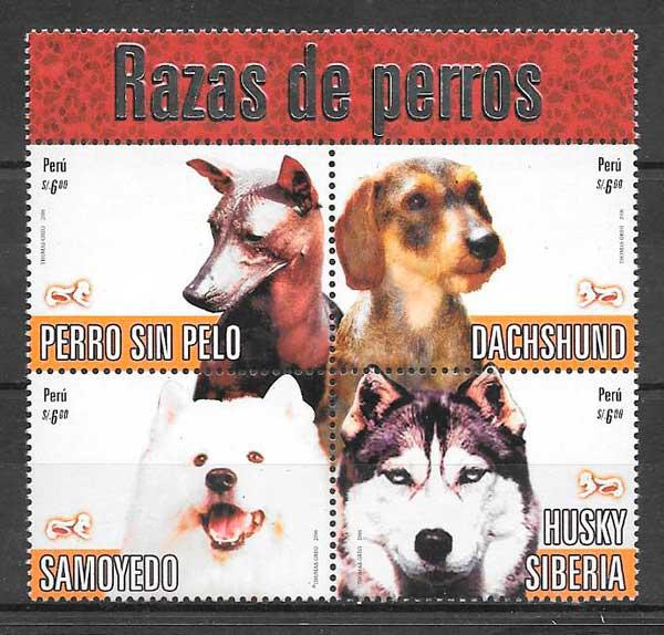 colección sellos gatos y perros Perú 2007