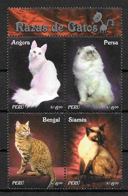 colección sello gatos y perros Perú 2007