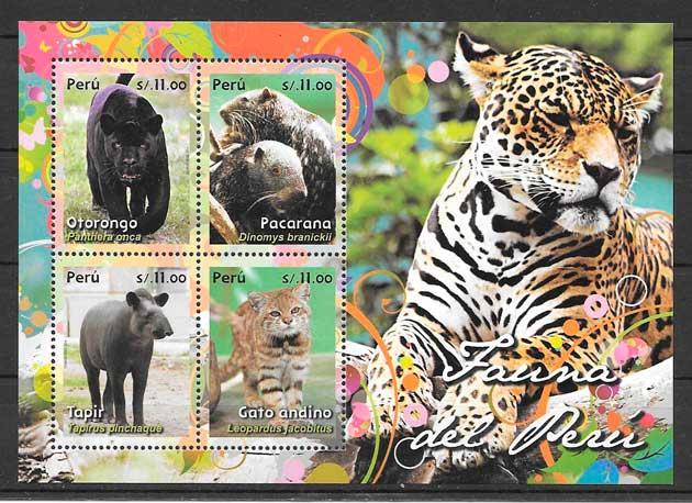 filatelia colección fauna Perú 2014