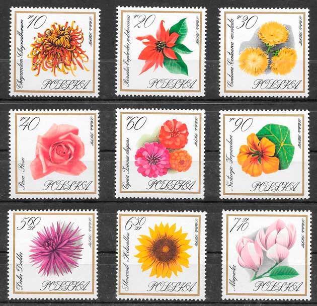 sellos flora Polonia 1966