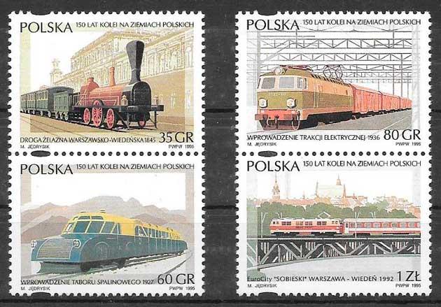 filatelia trenes Polonia 1995