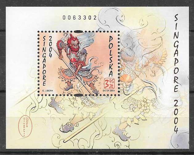 Filatelia año lunar mono Polonia 2004