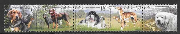 Estampilla tema fauna perros diversos Polonia-2006-01