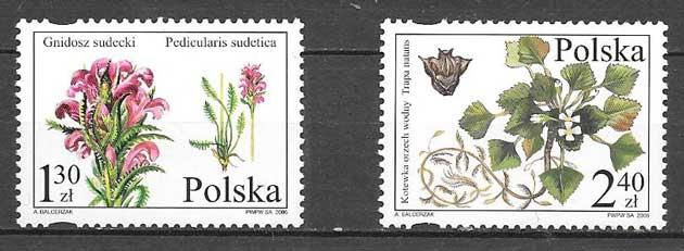colección sellos flores Polonia 2006