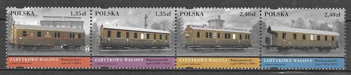 sellos colección transporte Polonia 2007