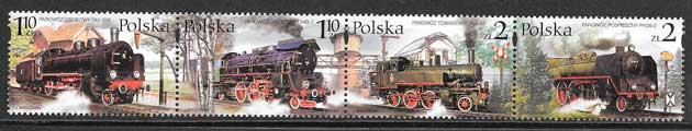 sellos trenes Polonia 2002