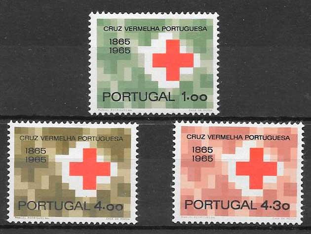 colección sellos cruz roja Portugal 1965