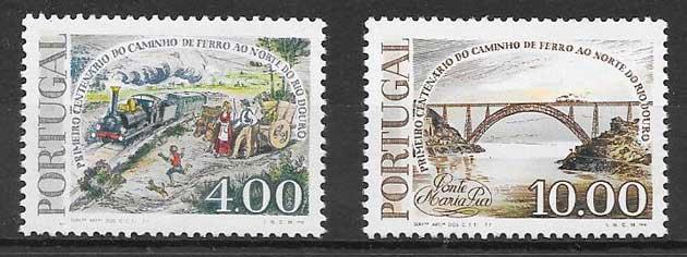 sellos trenes Portugal 1977