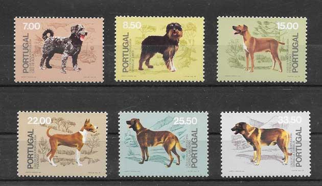 Filatelia sellos diferentes perros de Portugal