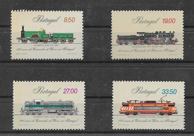 Colección sellos aniversario de los trenes Portugal