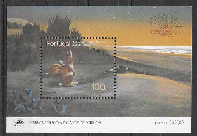 filatelia fauna Portugal 1985