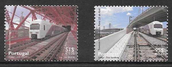 sellos trenes Portugal 1999