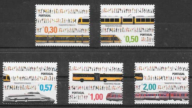 sellos trenes Portugal 2005