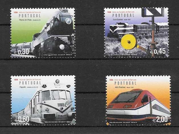 Colección sellos trenes modernos de Portugal