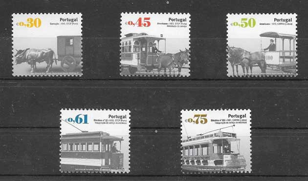 Colección sellos transportes públicos antiguos Portugal