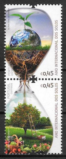 colección sellos flora Portugal 2015