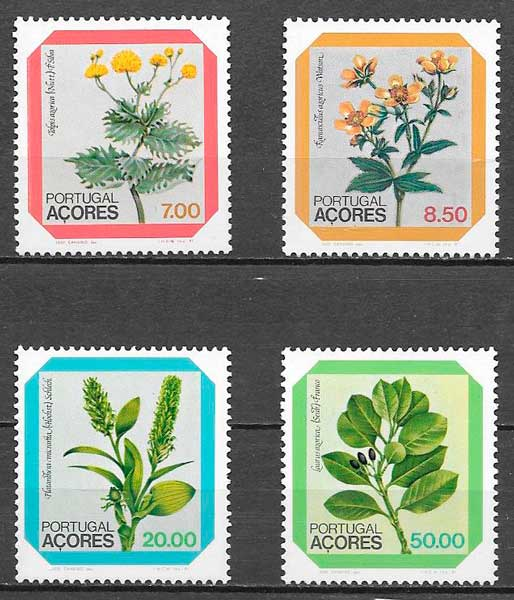 colección sellos flora Portugal Azores 1981