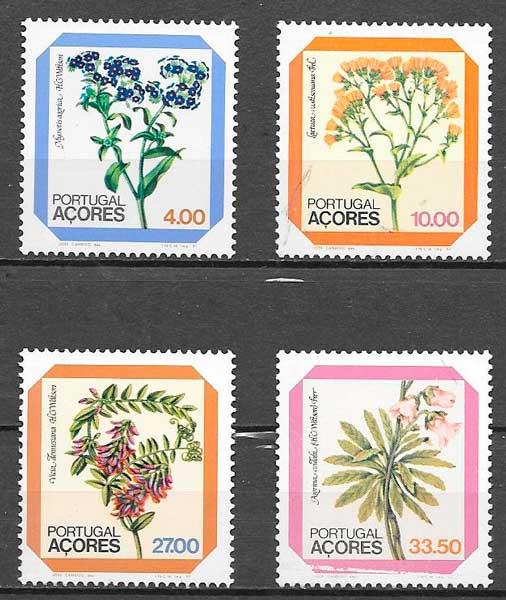 colección sellos flora Portugal Azores 1982