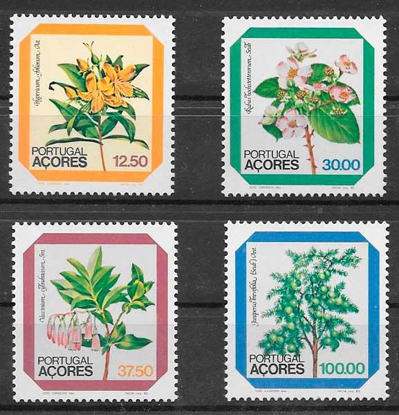sellos flora Azores 1983