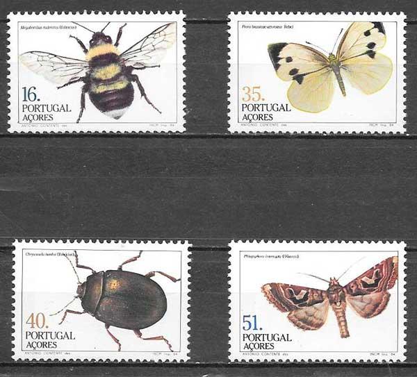 colección sellos fauna Portugal Azores