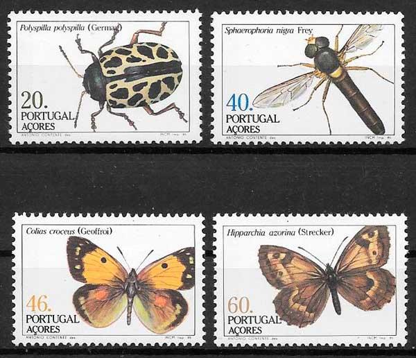 filatelia colección fauna Portugal Azores 1985