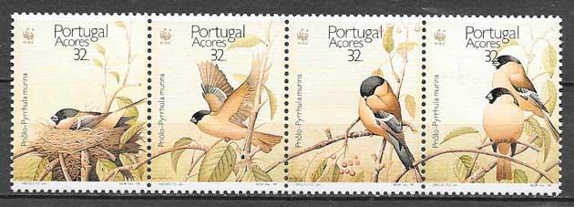 colección sellos fauna wwf Portugal- Azores 1990