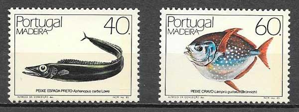 filatelia colección fauna Portugal Madeira 1985