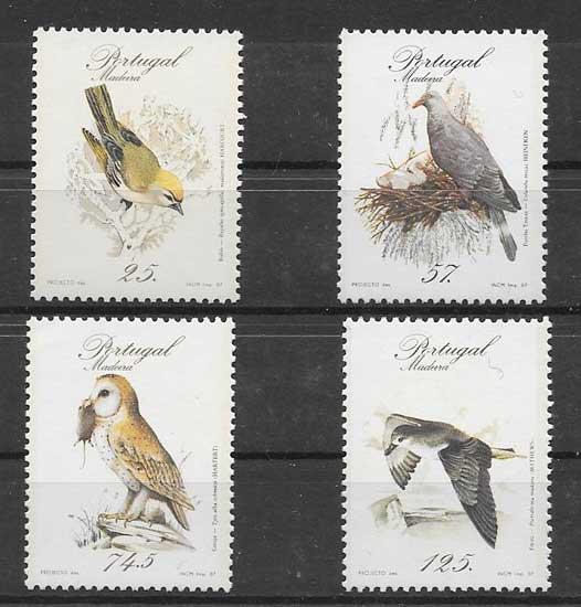 Sellos fauna pájaros diversos 1987