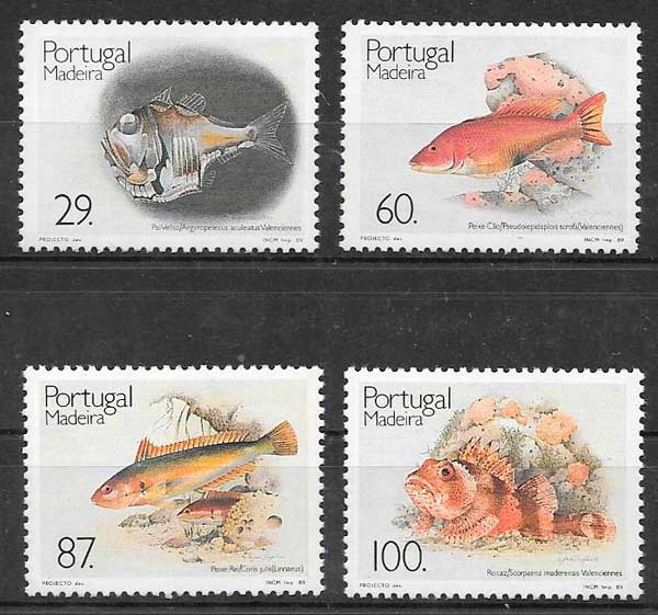 colección sellos fauna Portugal Madeira 1989