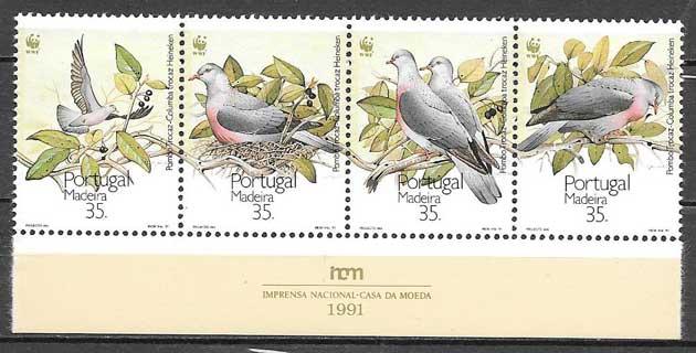 colección sellos fauna wwf Portugal Madeira 1991