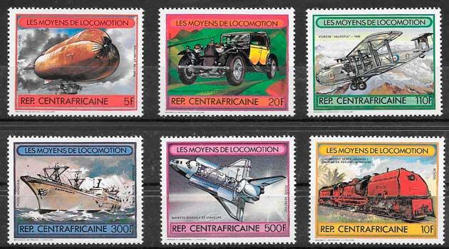sellos colección trenes Centroáfrica 1982