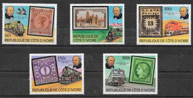 sellos colección trenes Cote de Ivori 1979
