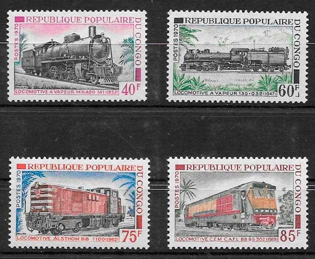 colección sellos trenes Congo 1970