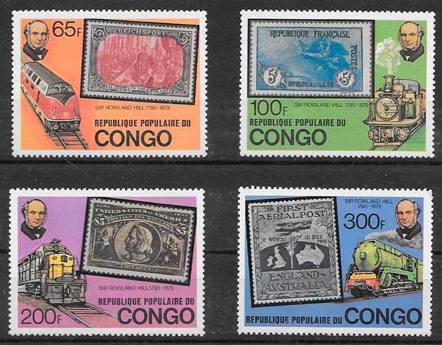 filatelia colección trenes Congo 1979