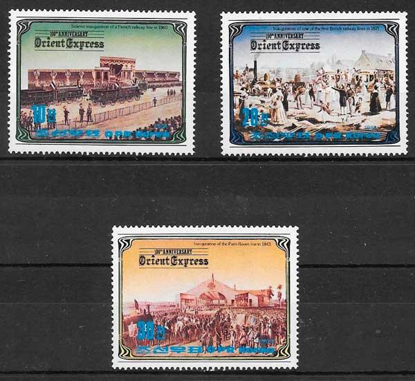 sellos trenes Corea del norte 1984