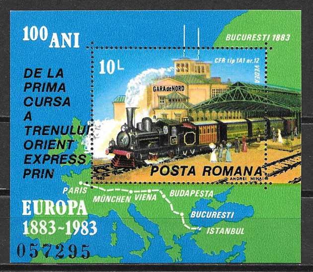 Sellos tren Rumanía 1983