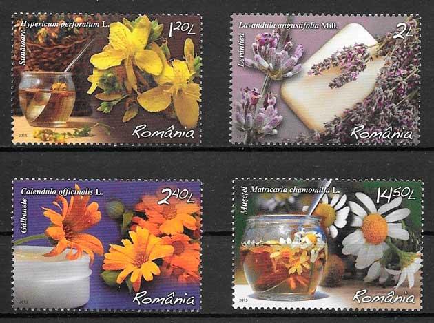 filatelia flora Rumanía 2015