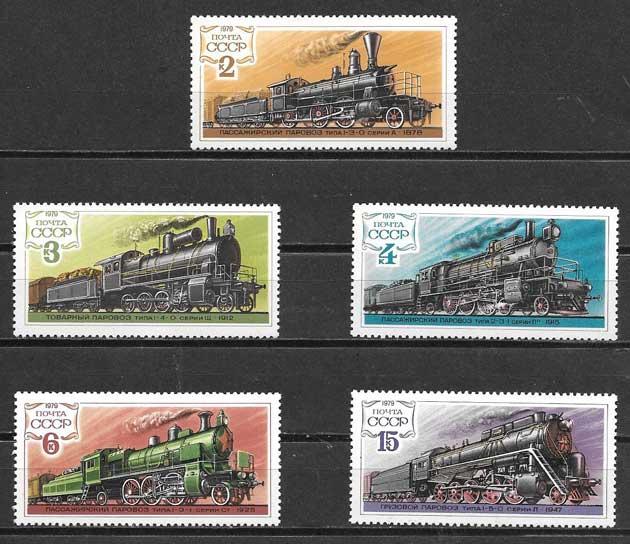 Colección sellos Rusia locomotoras 1979