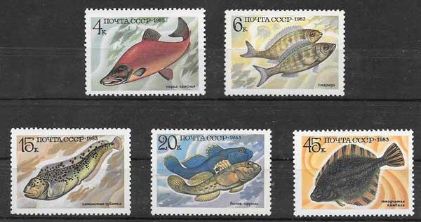 Filatelia fauna marina - peces