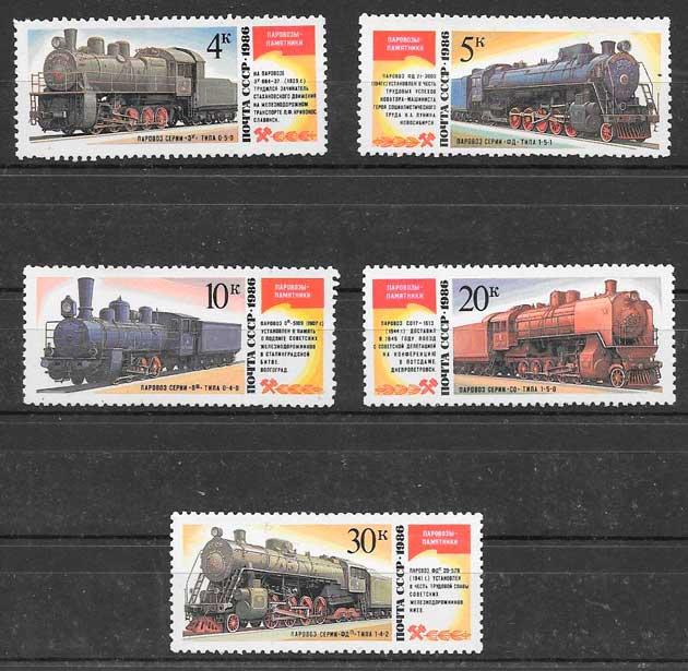 sellos trenes Rusia 1986