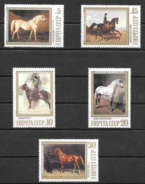 Filatelia sellos fauna caballos de 1988