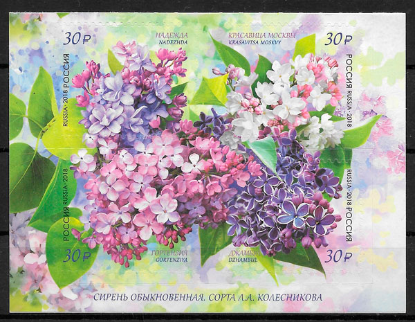 colección sellos flora Rusia 2018