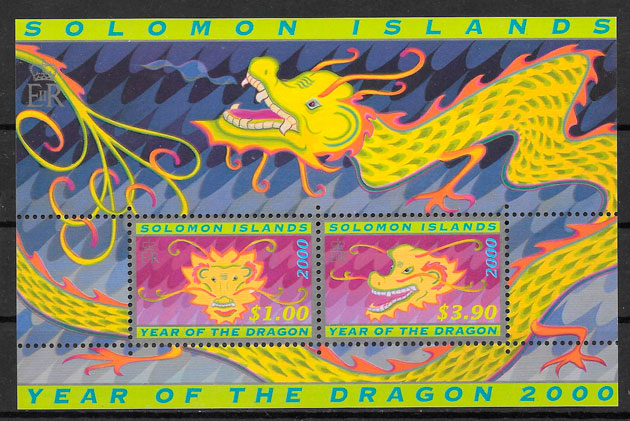 filatelia año lunar Salomon Islands 2000