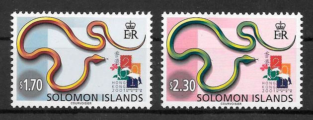 filatelia año lunar Salomon Islands 2001