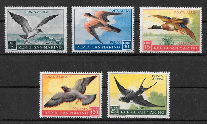 sellos fauna San Marino 1959