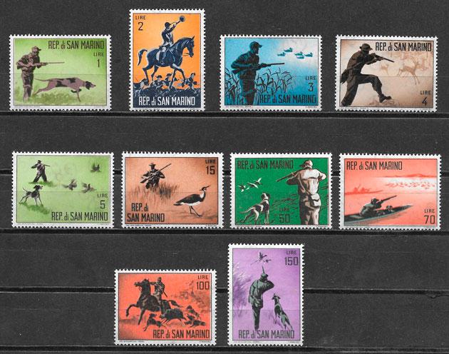 colección sellos fauna San Marino 1962