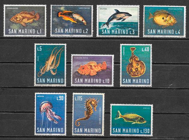 colección sellos fauna San Marino 1966