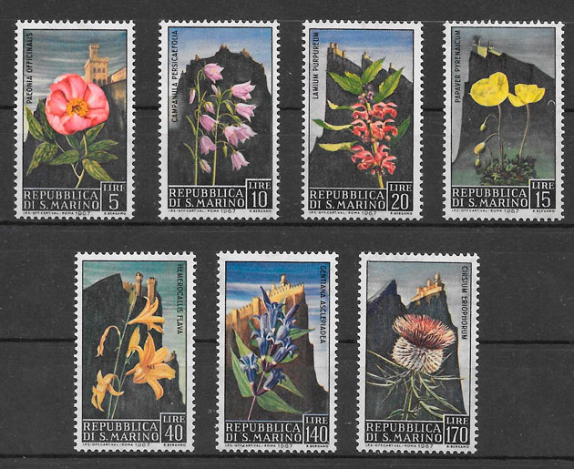 filatelia flora San Marino 1967